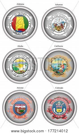 Set Of Icons. States Of Usa Seals. Vector. 3D.