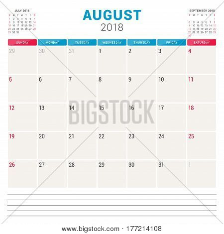 August 2018. Calendar Planner Vector Design Template. Week Starts On Sunday. Stationery Design