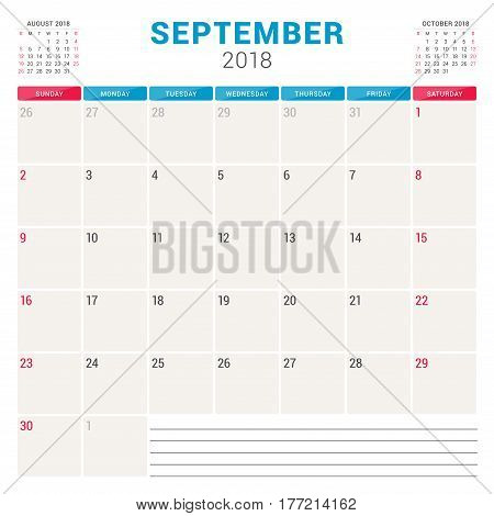September 2018. Calendar Planner Vector Design Template. Week Starts On Sunday. Stationery Design