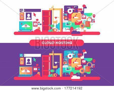Cloud hosting design. Web computing, technology internet and connection server. Vector illustration
