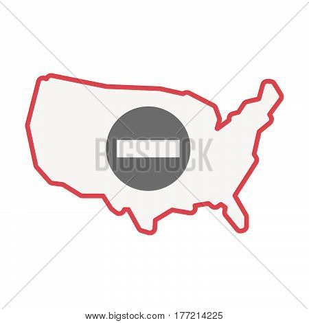 Isolated Usa Map With  A No Trespassing Signal