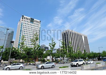 SEOUL, SOUTH KOREA 21: Photographs of buildings and Traffic and blue sky in Seoul on May 21,2016 at Seoul, South Korea.
