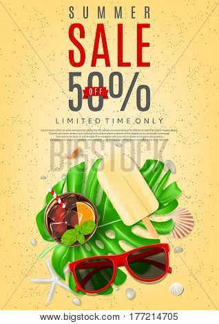 Beautiful flyer for summer sale. Top view on composition with sun glasses, seashells, fresh cocktail and ice cream on sea sand. Vector illustration with leaves of tropical plant.