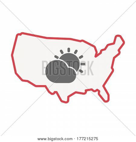 Isolated Usa Map With  The Sun Shining Behind A Cloud