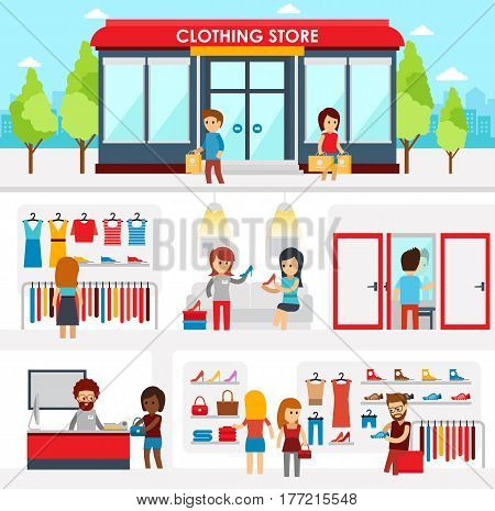 People shopping in the clothing store. Shop Interior. Colorful vector illustration design, infographic elements, banners in flat style. Clothing store facade on street. Men s and women s shopping
