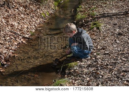 Small blond boy in a small brook plays with a branch in the water