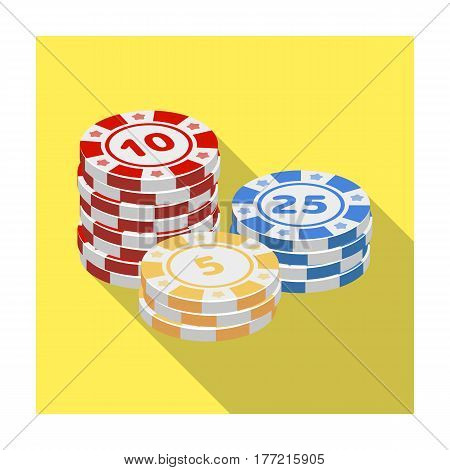 Playing chips. The settlement coin in the casino.Kasino single icon in flat style vector symbol stock web illustration.
