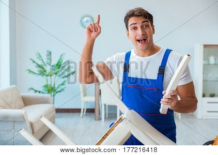 Repairman repairing broken chair at home