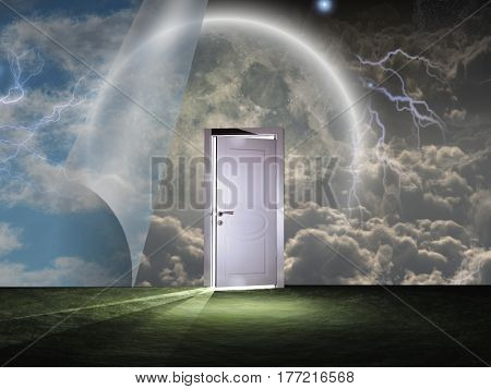 Sky curtains and white door.   3d render.   Some elements provided courtesy of NASA