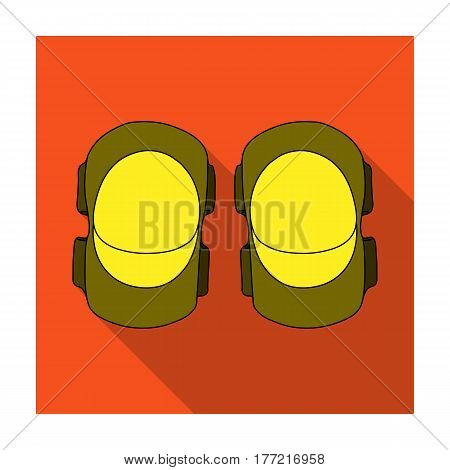Protective elbow pads for cyclists. Protection for athletes.Cyclist outfit single icon in flat style vector symbol stock web illustration.