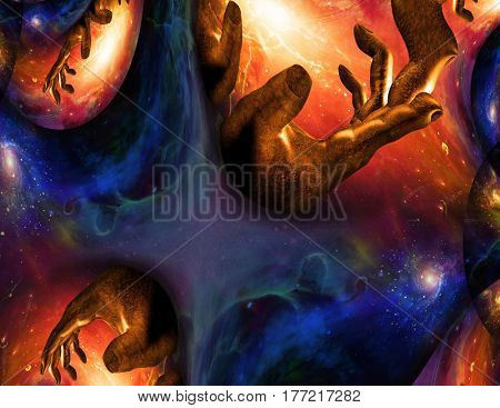 Surreal painting. Hand of God in endless universe.    3D Render  Some elements provided courtesy of NASA