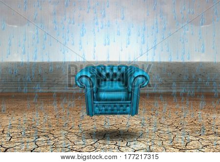 Surrealism. Blue armchair in arid land.    3D Render