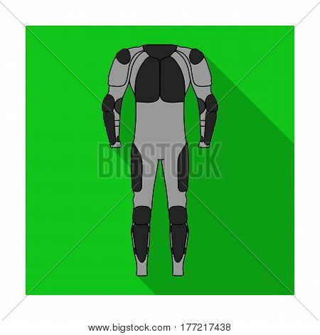 Outfitting for cyclists. Full body protection against falls.Cyclist outfit single icon in flat style vector symbol stock web illustration.