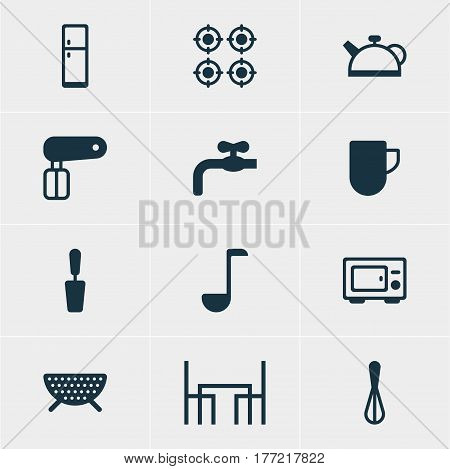 Vector Illustration Of 12 Kitchenware Icons. Editable Pack Of Spatula, Oven, Whisk And Other Elements.
