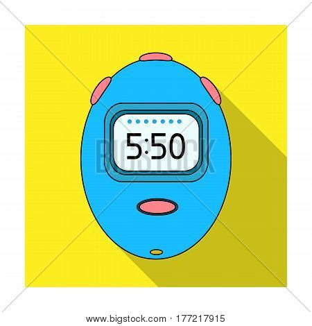 Stopwatch for calculating time and speed of travel.Cyclist outfit single icon in flat style vector symbol stock web illustration.