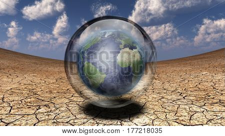 Symbolism. Earth in the bubble hovers above arid land.    3D Render  Some elements provided courtesy of NASA
