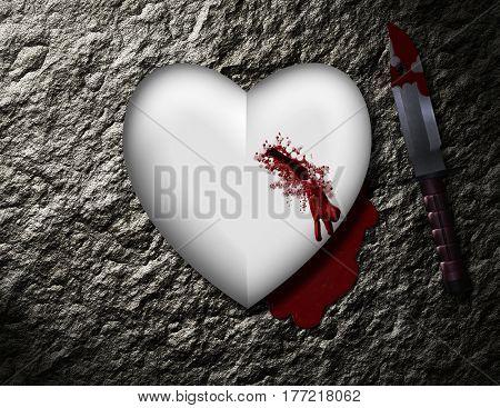 bleeding heart with bloody knife    3D Render