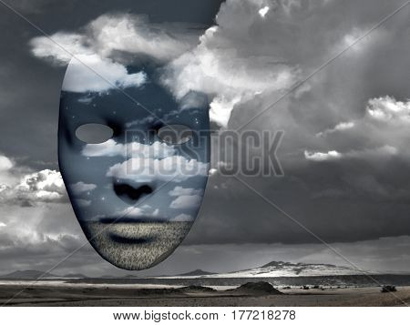Mask with image of clouds and field. Mountain landscape on a background.    3D Render