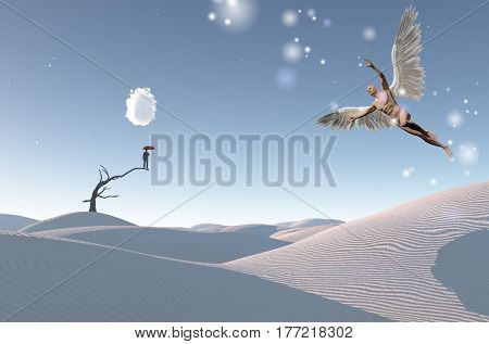Surreal white desert. Man with red umbrella stands on a dry tree. Naked man with wings represents angel.  3D Render