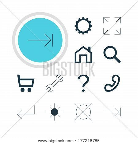 Vector Illustration Of 12 Interface Icons. Editable Pack Of Handset, Help , Wrench Elements.