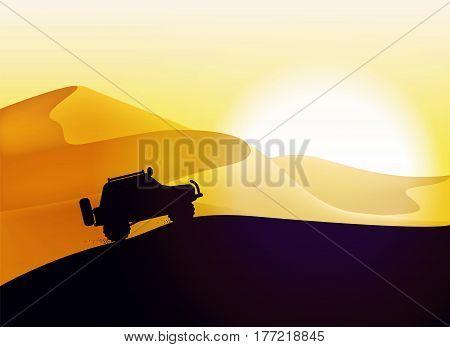 Desert dunes sunset landscape. Off road car