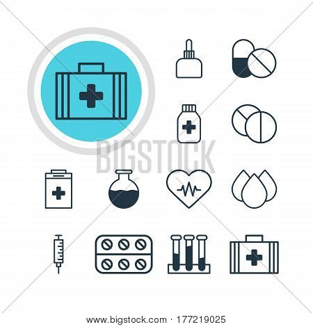 Vector Illustration Of 12 Health Icons. Editable Pack Of Experiment Flask, Vaccinator, Heart Rhythm And Other Elements.