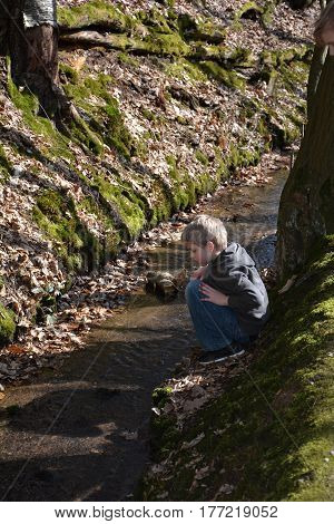 Small blond boy plays in a small brook in the wood