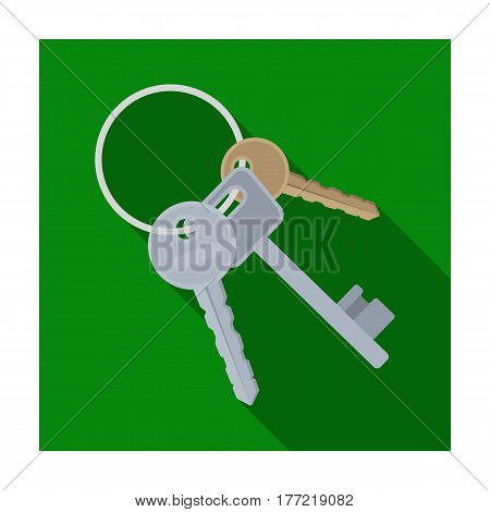 A bunch of keys from the cells in the prison. Keys for opening criminals.Prison single icon in flat style vector symbol stock web illustration.