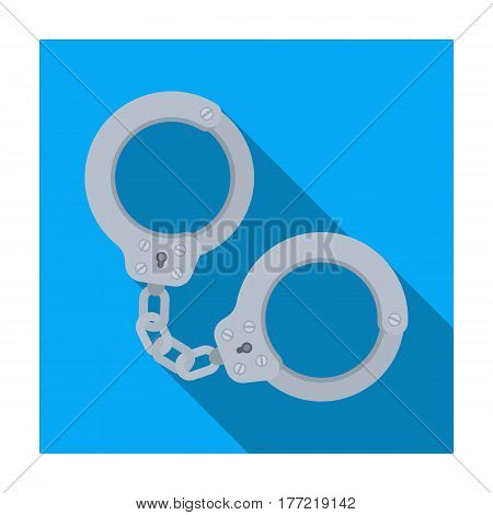 Metal handcuffs for detaining criminals. Outfit of a policeman.Prison single icon in flat style vector symbol stock web illustration.