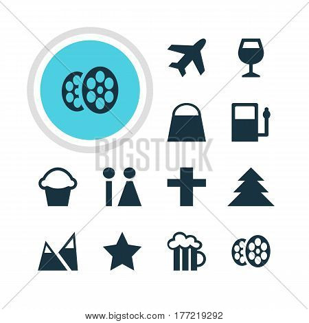Vector Illustration Of 12 Travel Icons. Editable Pack Of Cross, Aircraft, Refueling And Other Elements.