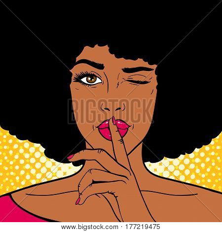 Pop art face. Young sexy african american woman holds index finger at the mouth as silence sign and winks on dots background. Vector illustration in retro comic style. Holiday party invitation poster.
