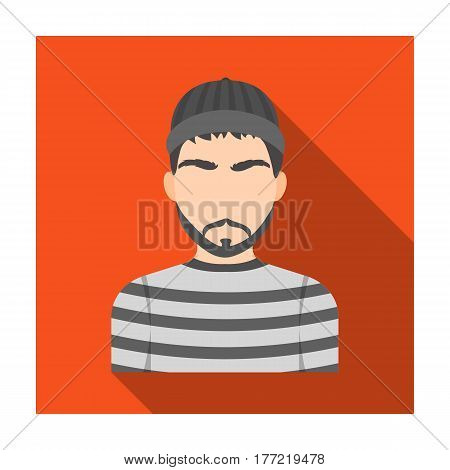 Prisoner in the prison robe. The offender is punished.Prison single icon in flat style vector symbol stock web illustration.