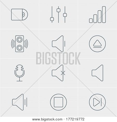 Vector Illustration Of 12 Melody Icons. Editable Pack Of Soundless, Rewind, Acoustic And Other Elements.