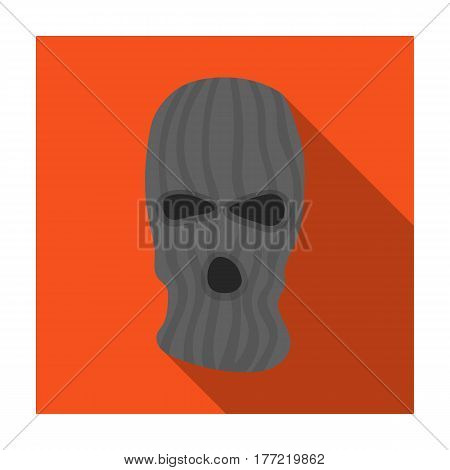 Mask to close the face of the offender from witnesses.Prison single icon in flat style vector symbol stock web illustration.