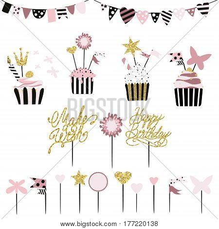 Celebratory cakes with set of decorations toppers candles and garlands with flags. Vector hand drawn illustration scandinavian style in mint colors with gold glittering elements and text.