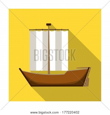 Sailboat. The boat sails from the wind. Water transport for skating.Transport single icon in flat style vector symbol stock web illustration.