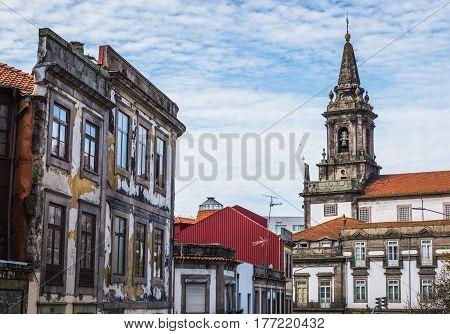 Trinity Church belltower in Porto city in Portugal