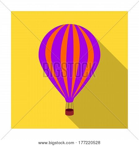 Air balloon for walking. Transport works on warm air. Transport single icon in flat style vector symbol stock web illustration.