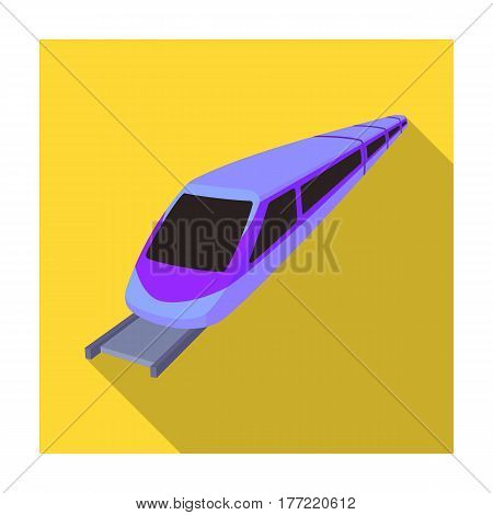 High speed train for transporting people over long distances. railway transport.Transport single icon in flat style vector symbol stock web illustration.