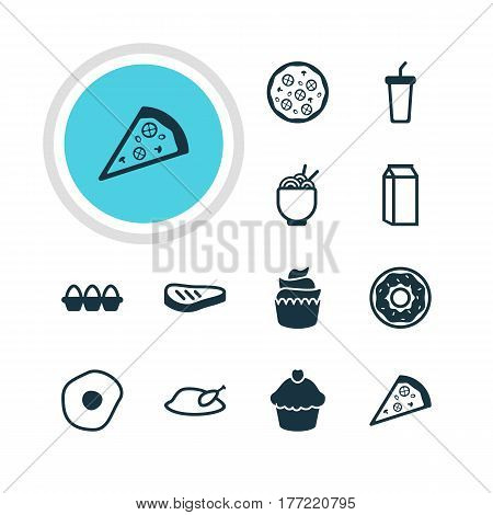Vector Illustration Of 12 Food Icons. Editable Pack Of Spaghetti, Egg Container, Grill And Other Elements.