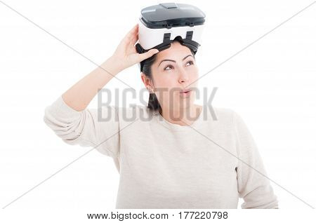 Surprising Woman Removing Vr Headset