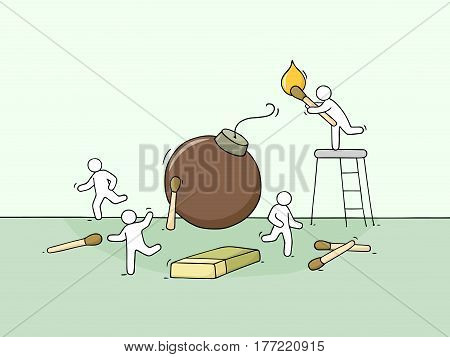 Cartoon little people run away from bomb. Doodle cute miniature scene of workers about dangerous. Hand drawn vector illustration for business design.