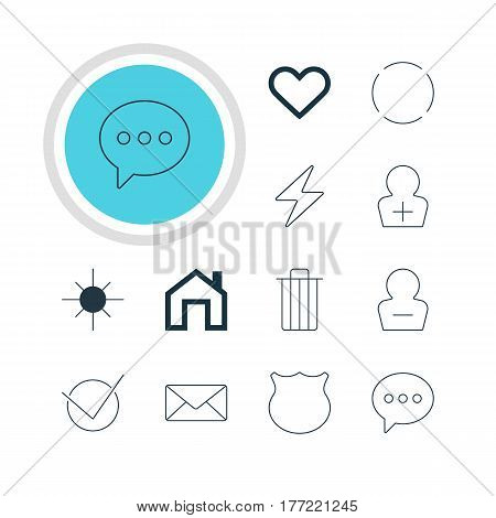 Vector Illustration Of 12 User Icons. Editable Pack Of Guard, Mainpage, Emotion And Other Elements.