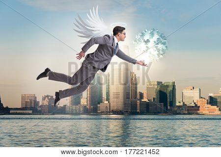 Angel investor concept with businessman with wings
