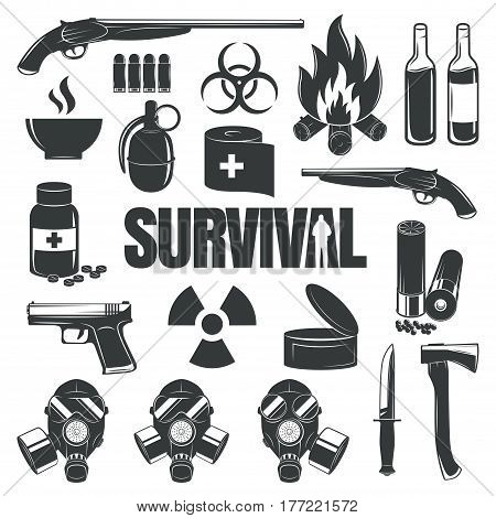 Illustration with a set of icons for a design on a theme of survival. Post-apocalyptic world, the invasion of zombies, the end of the world. Grunge style icons.