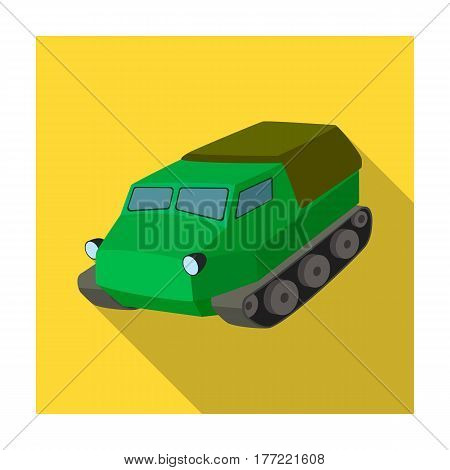 Tank for the marshes. Caterpillar transport of military.Transport single icon in flat style vector symbol stock web illustration.