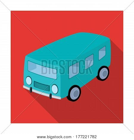 Blue bus for the transportation of a small number of people around the city and the village.Transport single icon in flat style vector symbol stock web illustration.