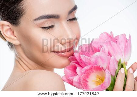 Woman With Pink Tulips Bouquet