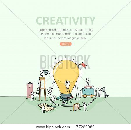 Backdrop with working little people big lamp idea. Doodle illustration about creativity with space for text. Hand drawn cartoon vector for business template.