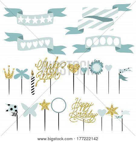 Set of decoration toppers candles and garlands with flags. Vector hand drawn illustration scandinavian style in mint colors with gold glittering elements poster